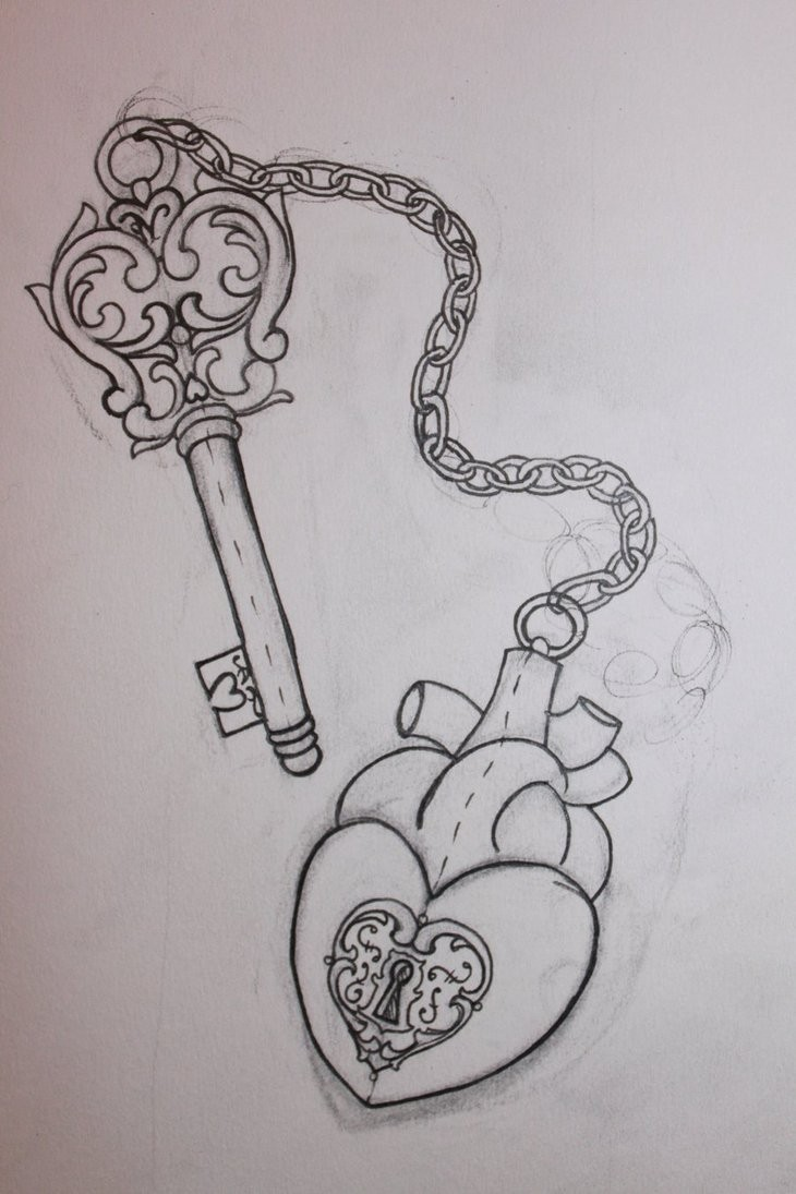 It's just a graphic of Declarative Heart Lock And Key Drawing