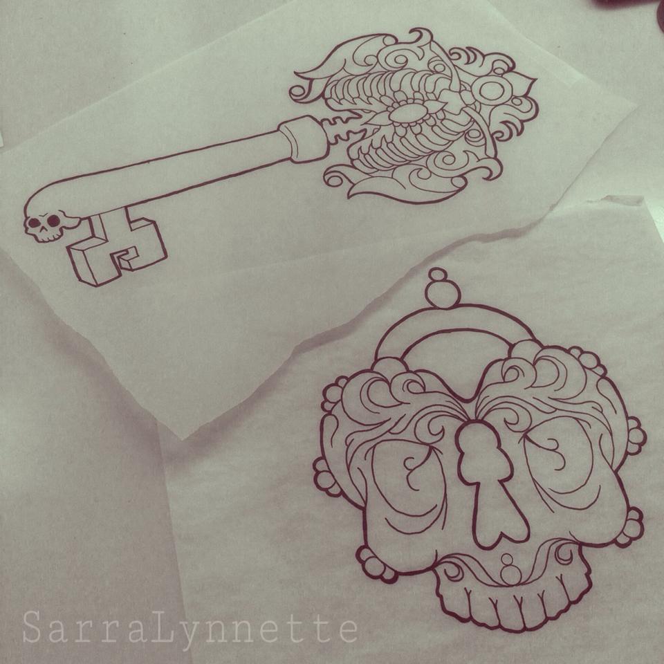 960x960 Skeleton Key And Skull Heart Locket Tattoo Drawings By Sarra