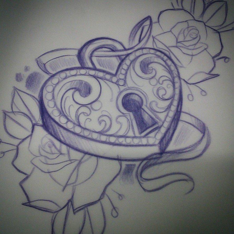 894x894 Heart Locket Sketch By Rock Ali