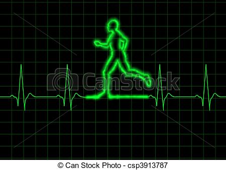 450x338 Ecg Runner. Illustration Of A Person Running On A Heart Stock
