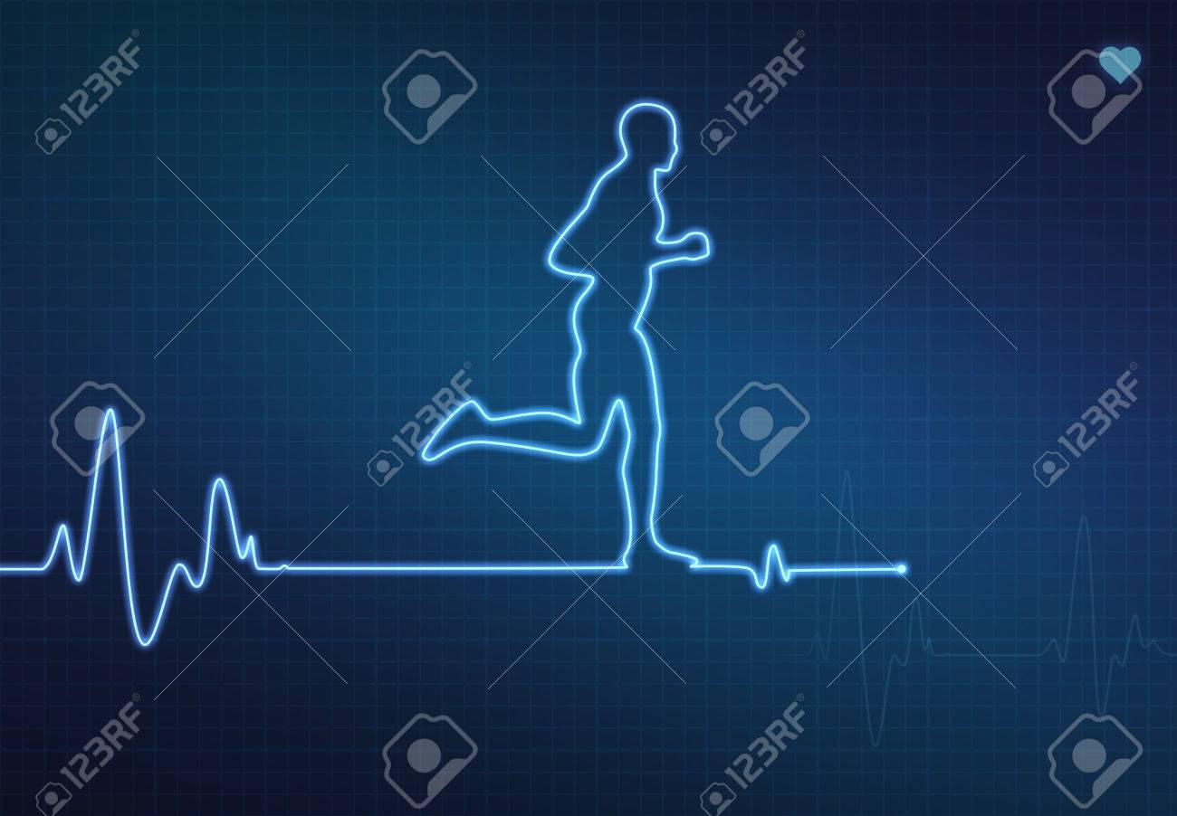 1300x902 Runner Shaped Blip On A Medical Heart Monitor (Ecg