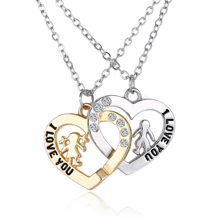 700x700 2 Pcs Heart Crystal Romantic I Love You Pendant Necklace