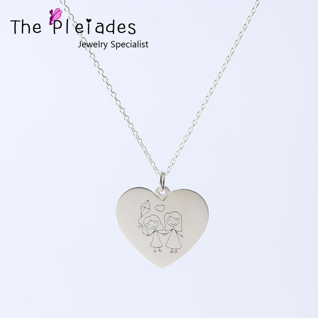 640x640 925 Solid Silver Heart Necklace Engraved Drawing Personalized