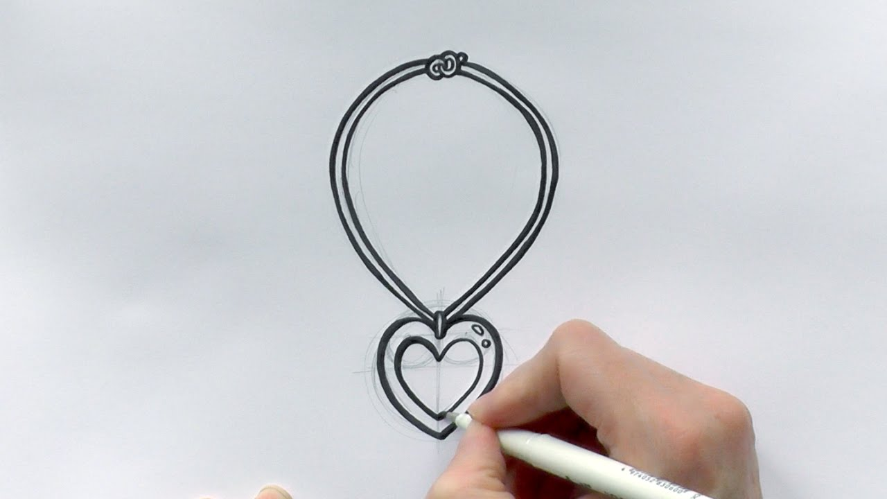 1280x720 How To Draw A Cartoon Love Heart Necklace For Valentine's Day