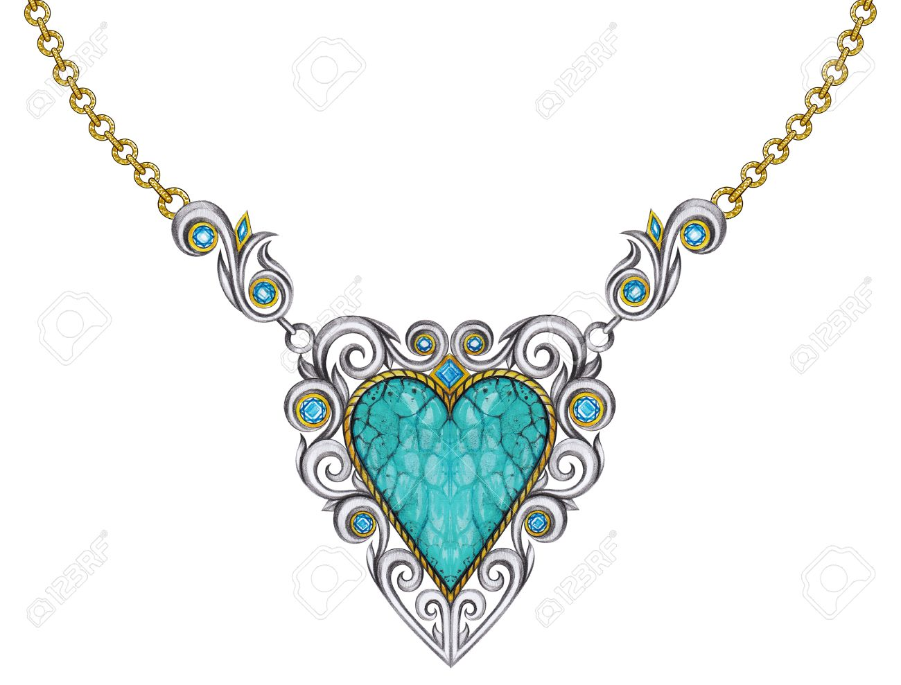 1300x989 Jewelry Design Vintage Art Mix Heart Necklace. Hand Pencil Drawing