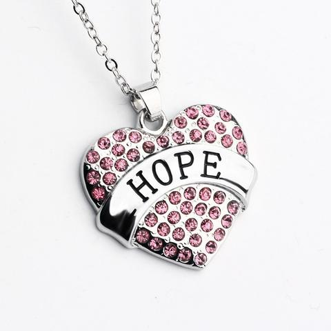 480x480 Silver Hope Heart Breast Cancer Awareness Necklace Amp Earrings