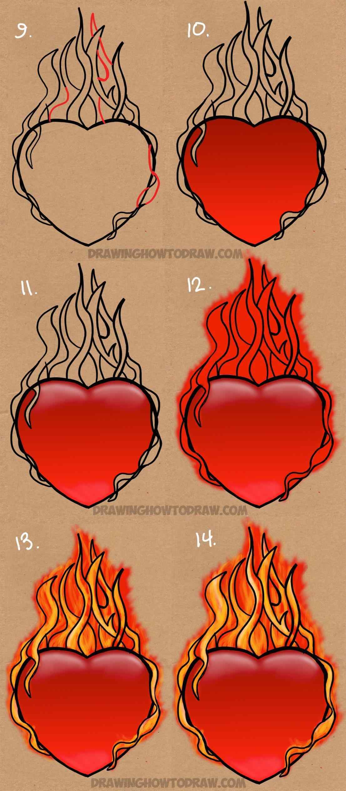 1106x2526 Fire To Draw A Flaming Heart On Fire With Step By Drawing Hearts