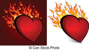 300x168 Heart On Fire. Hand Drawn Vector Illustration Or Drawing