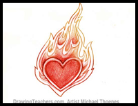 200x153 How To Draw Flaming Hearts With Flames And On Fire With Easy Step