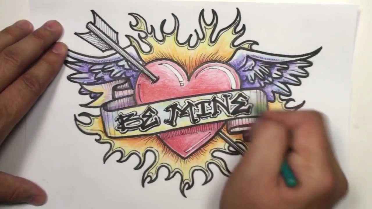 1280x720 Speed Drawing How To Draw A Heart With Wings, Arrow, Ribbon
