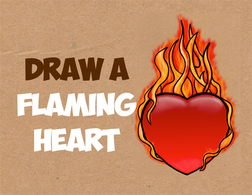 500x388 How To Draw A Heart On Fire Archives