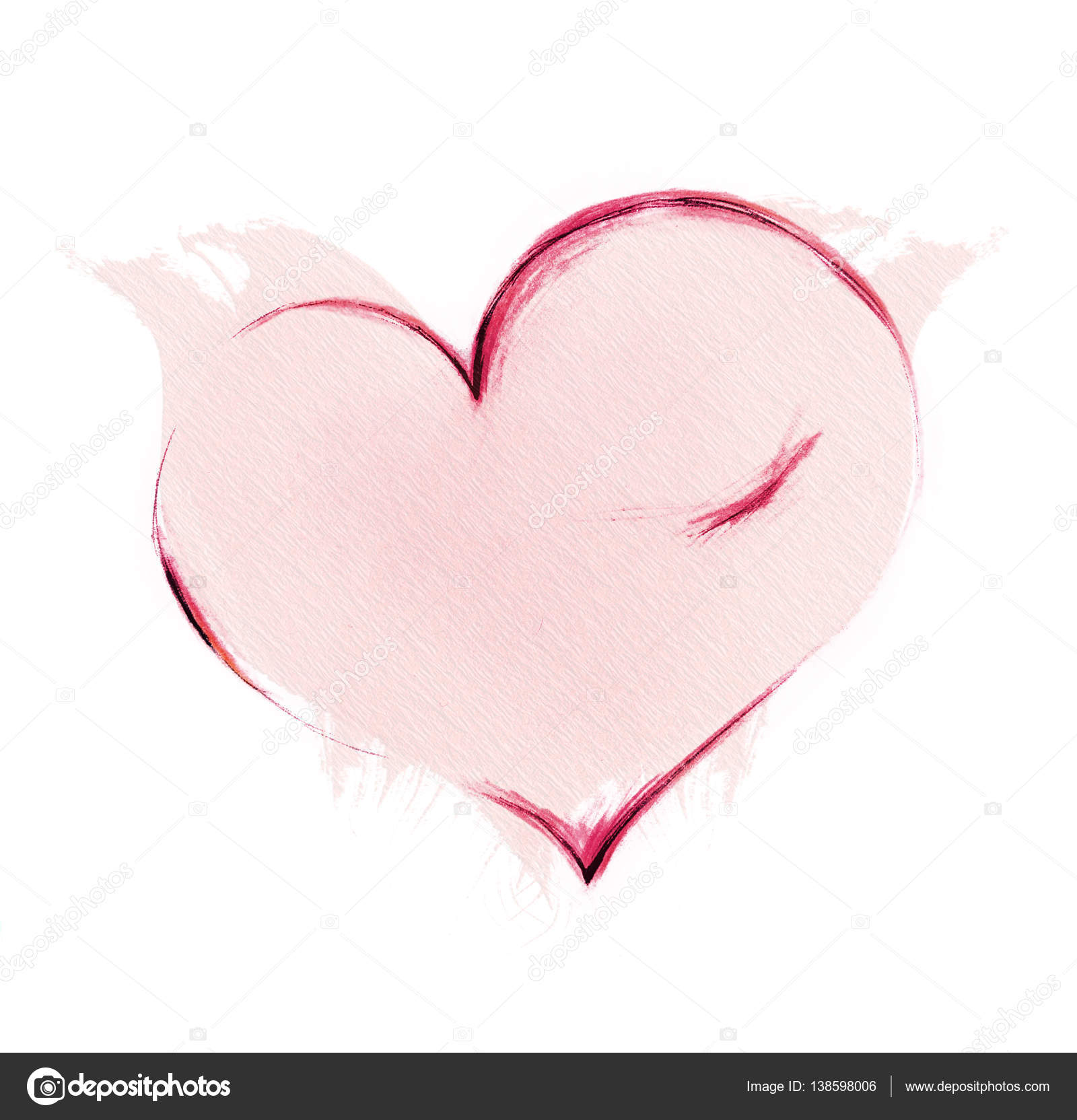 1600x1664 Love Heart Card. Pencil Drawing Sketch Heart Icon Isolated Over