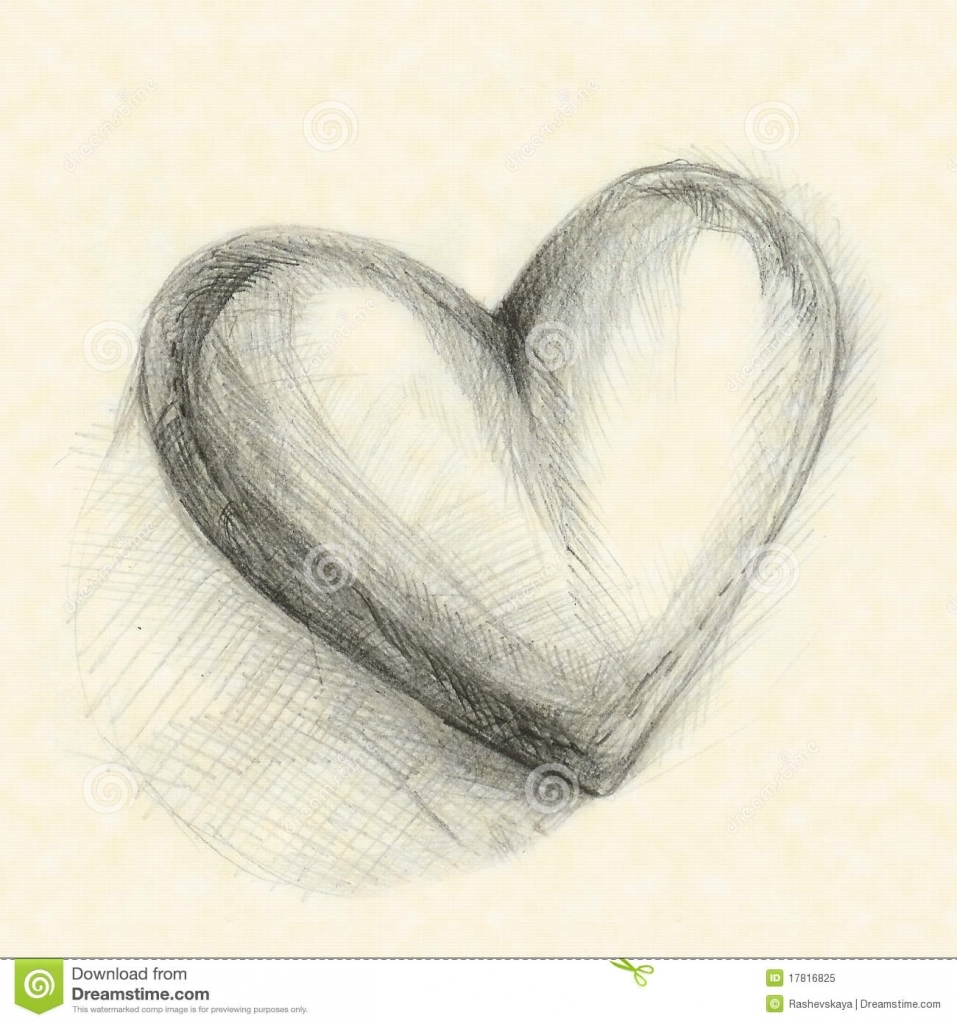 957x1024 Pencil Drawing Of A Heart Drawn In Pencil Heart Royalty Free Stock