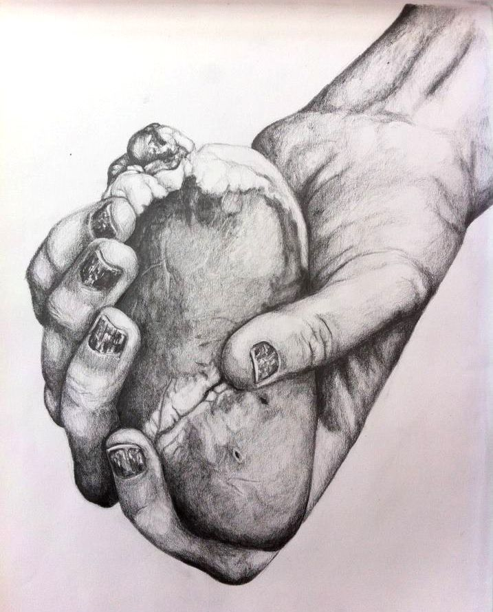 717x890 Pencil Drawing Of Someone Holding Their Heart