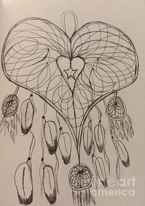 494x700 Heart Shaped Dreamcatcher Drawing By Shylee Charlton