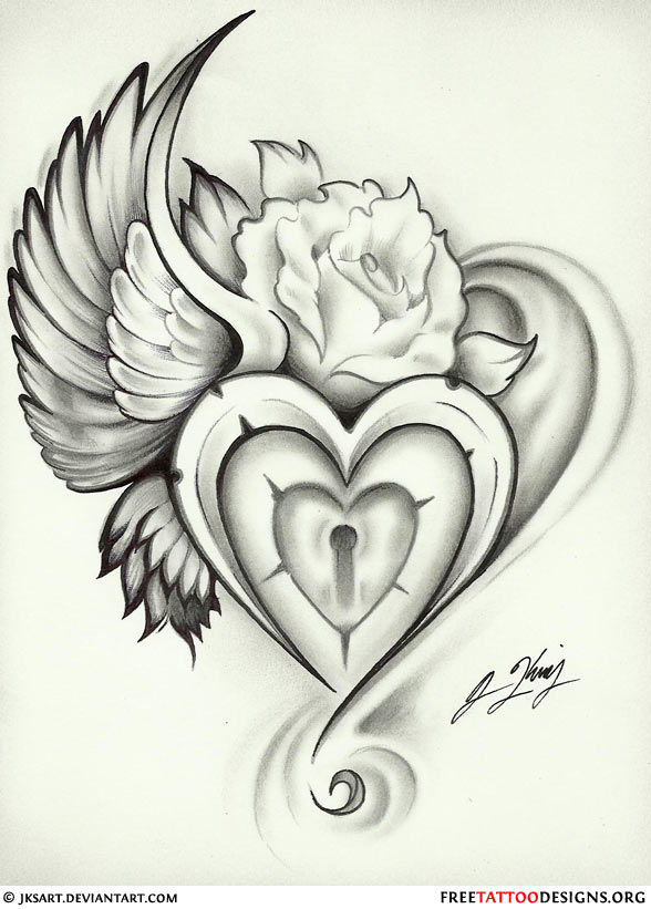 588x821 55 Heart Tattoos Love And Sacred Heart Tattoo Designs