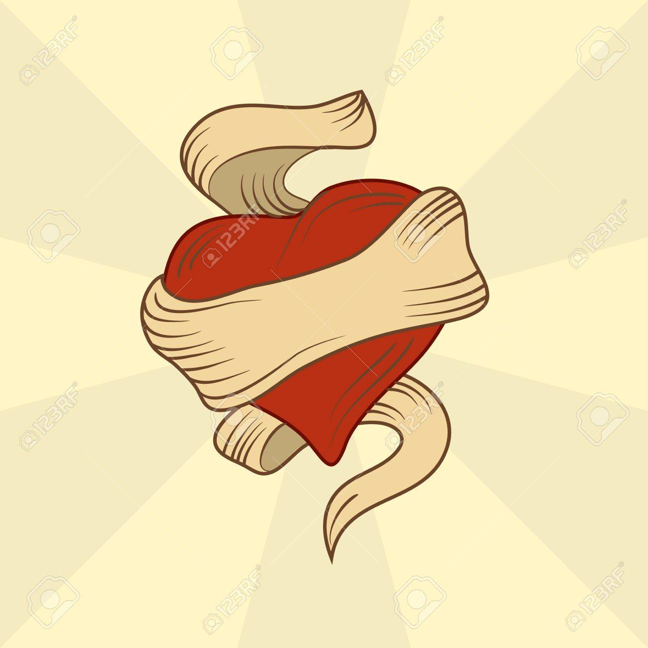 1300x1300 Hand Drawn Heart Tattoo Royalty Free Cliparts, Vectors, And Stock
