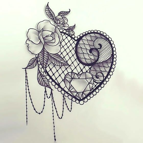560x560 Sexy Lace Heart Tattoo Design Heart Tattoo Designs, Girly