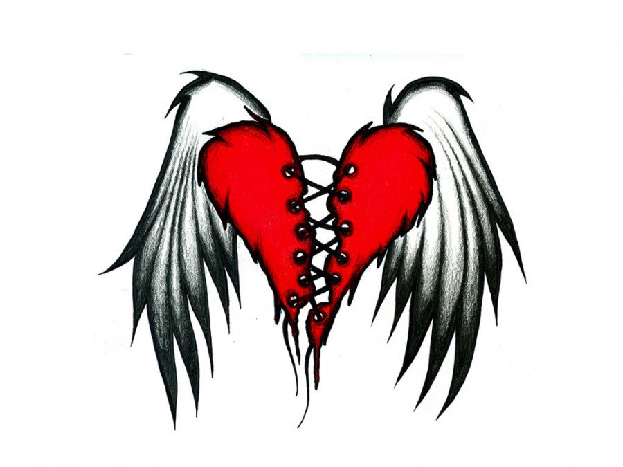 900x675 The Flying Wings Of Broken Heart Tattoos