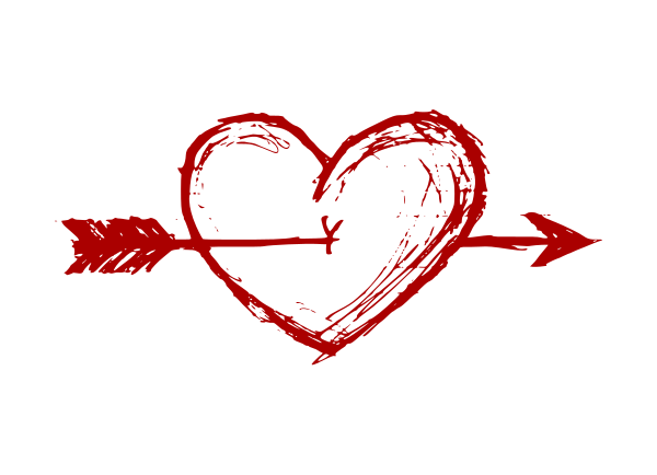 600x434 Hand Drawn Heart With Arrow Vector (Eps, Svg, Png)