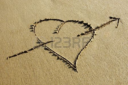 450x299 Heart With Arrow Drawing In The Sand Stock Photo, Picture
