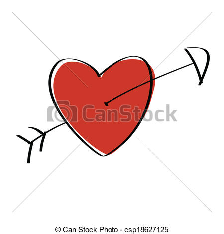 450x469 Heart Arrow. Heart Pierced With Arrow Vector Illustration