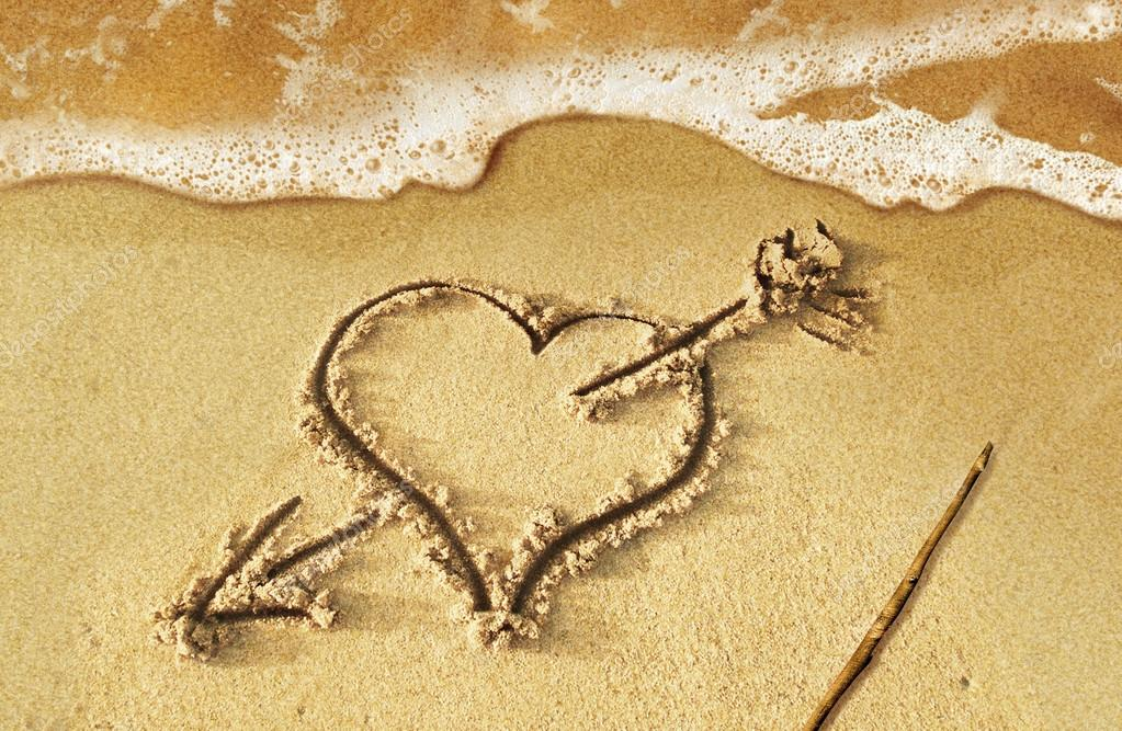 1023x667 Heart With Arrow, As Love Sign, Drawn On The Beach Shore, With S