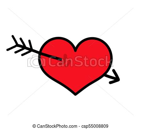 450x413 Heart With Arrow Icon. Vector Illustration Vector Clipart
