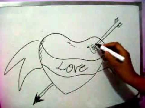 480x360 How To Sketch Love Heart Draw Arrow Through Lovers Heart