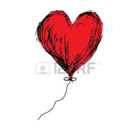 450x450 Red Heart Arrow Doodle Hand Drawing. Romance Relationship Love