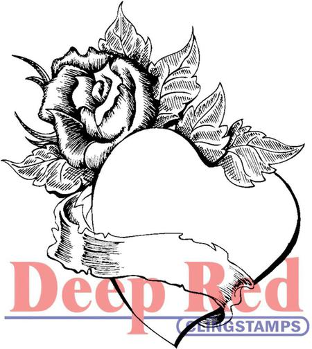 450x504 Deep Red Stamps Rose Heart Banner