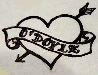 313x240 Traditional Heart And Banner By Odoyletattooflash