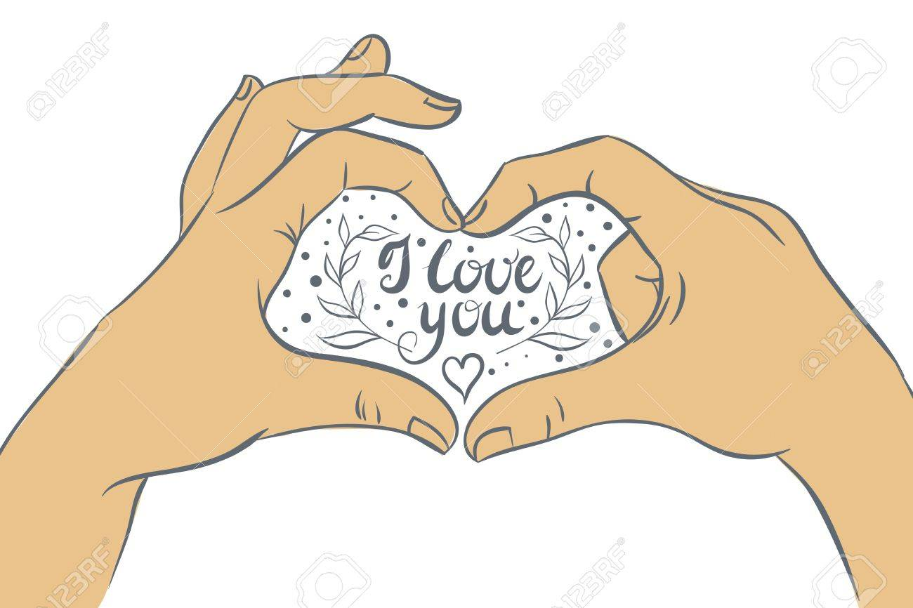 1300x866 Hands Folded Heart With The Inscription I Love You. Vector