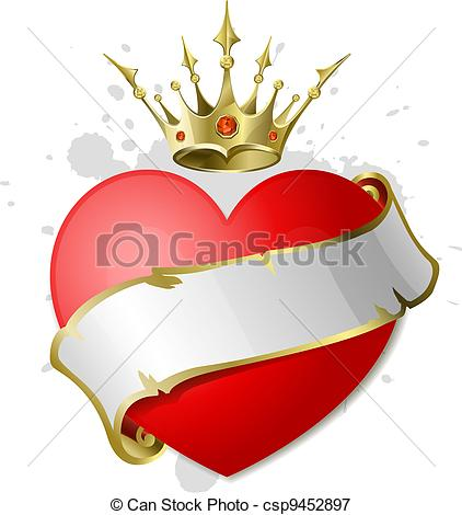 422x470 Heart With Ribbon Crown. Red Heart With White Ribbon