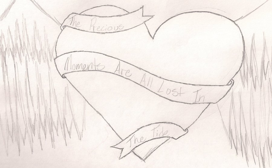 900x556 Heart With Wings And Ribbon By Purpleninja185