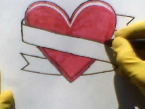 480x360 How To Draw A Heart And Banner Ribbon Como Dibujar Un Corazon Una