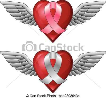 450x415 Ribbon With Wings And Heart. Illustration Of A Pink Ribbon