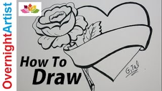 Heart With Rose Drawing At Getdrawings Com Free For
