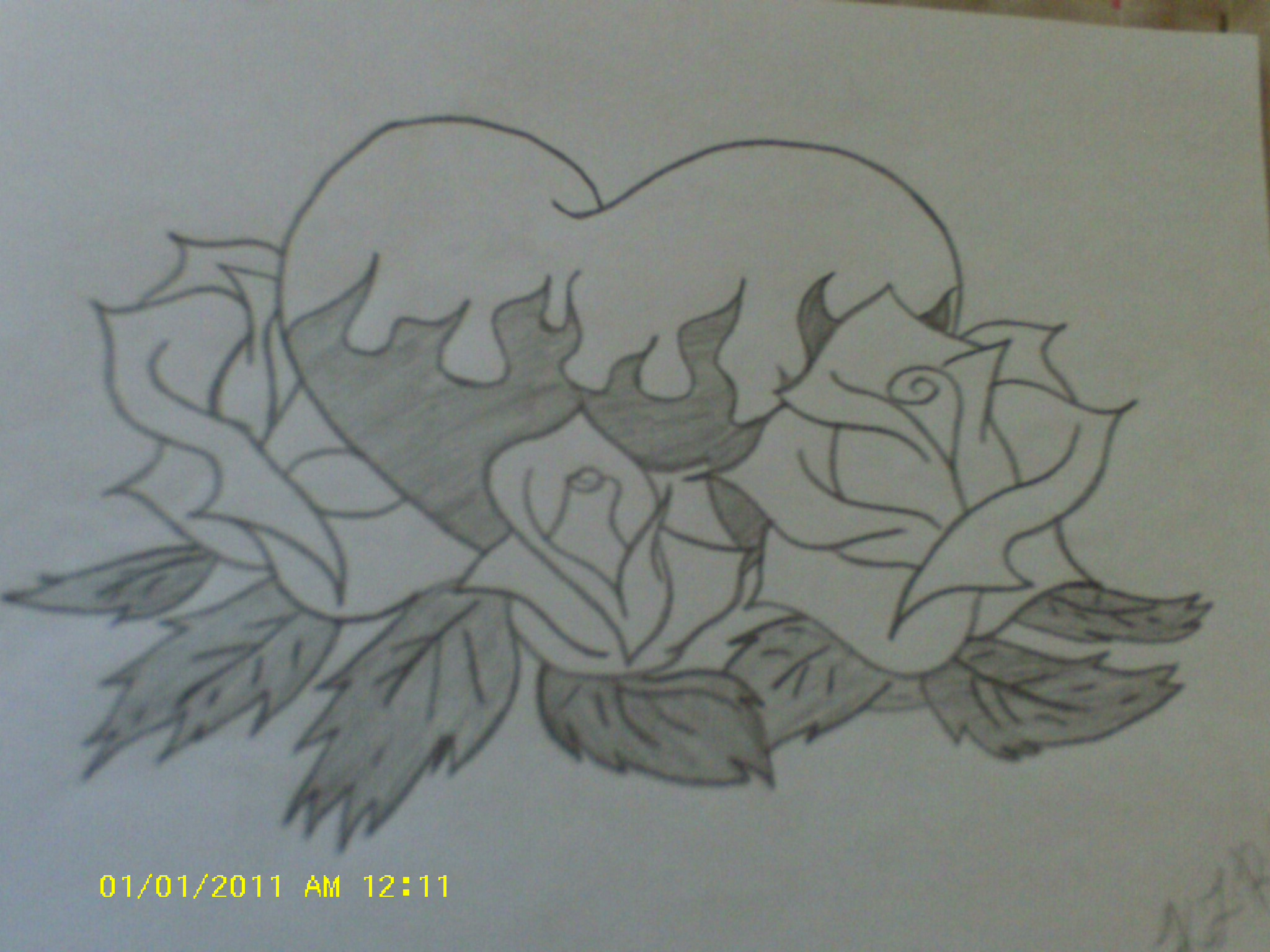 2048x1536 heart and rose drawings in pencil burning rose heart 1