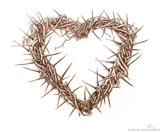 570x461 Christian Art 10x8 Heart Of Thorns Drawing By Witnessart On Etsy