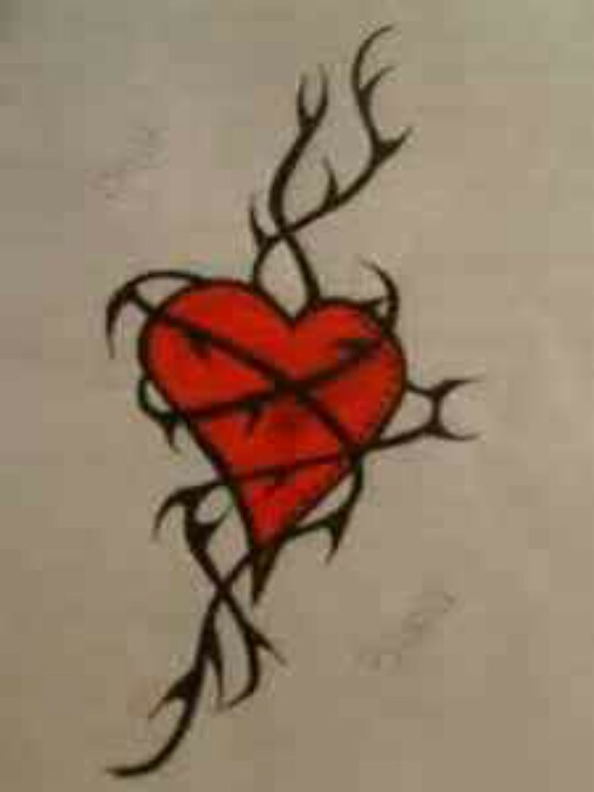 540x720 Heart Entwined In Rose Thorns Tattoo Art Thorn