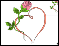 200x156 How To Draw Hearts With Roses Amp Vines With Easy Step By Step