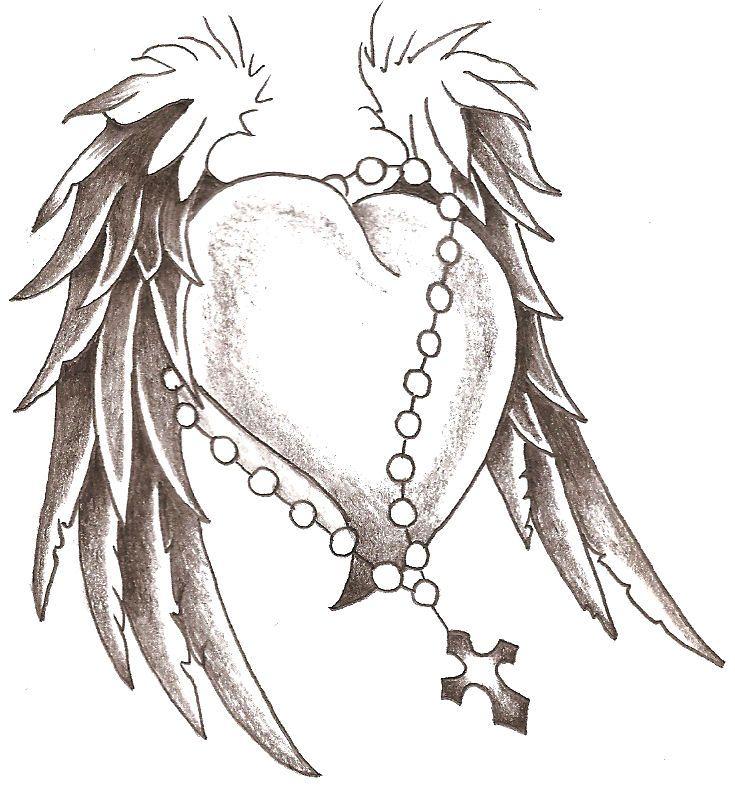 735x787 Heart Wings Body Art Tattoo Drawings, Tatoos