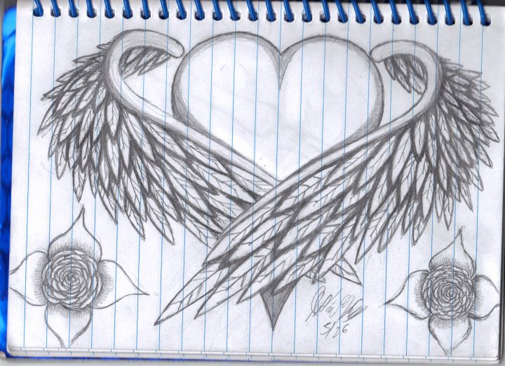 720x522 Sketches Of Hearts With Wings Heart With Wings By Whitefirebird