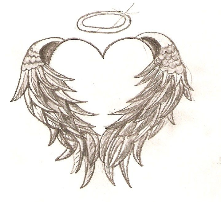 719x658 Angel Wings Wrapped Around A Heart With A Halo . This Is