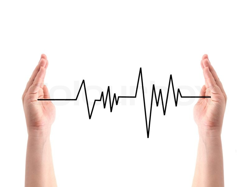 800x600 A Heart Rate Line Between Two Hands Stock Photo Colourbox