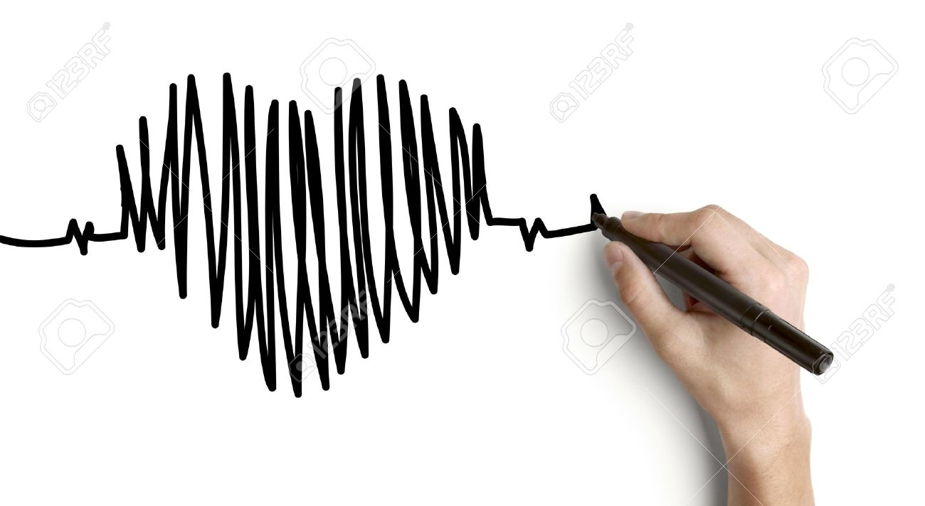 1300x712 Hand Drawing Heartbeat On A White Background Stock Photo, Picture