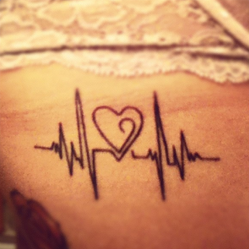 500x500 Little Tattoo Of A Heartbeat Drawing A Heart On One Of Our