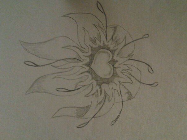 604x453 Heart And Flowers Drawings