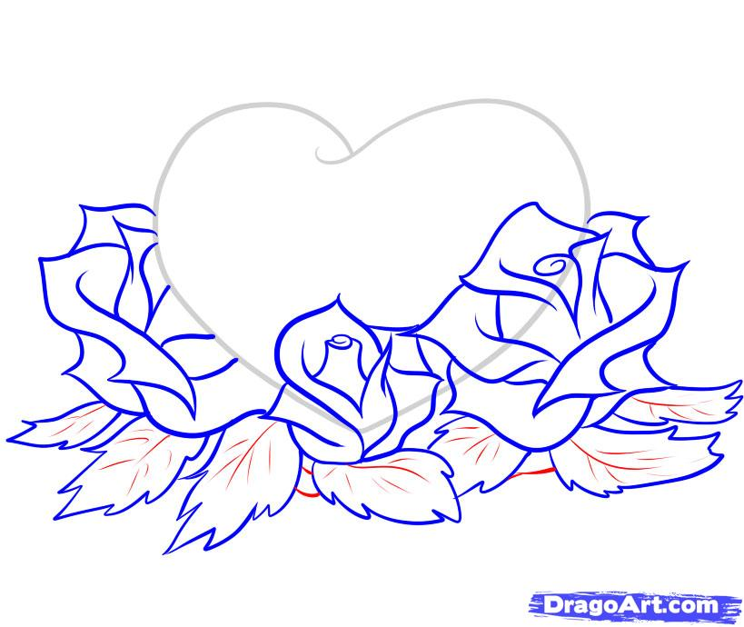 819x690 How To Draw Hearts And Roses Step 7 Drawings Tutorials